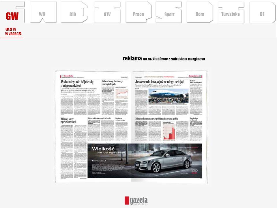 GW reklama na rozkładówce z zadrukiem marginesu WO CJG GTV Praca Sport