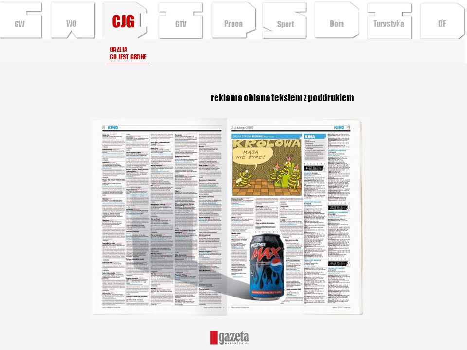 CJG reklama oblana tekstem z poddrukiem GW WO GTV Praca Sport Dom