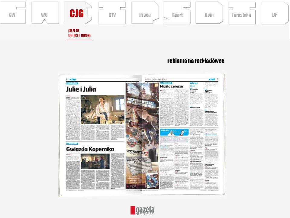 CJG reklama na rozkładówce GW WO GTV Praca Sport Dom Turystyka DF