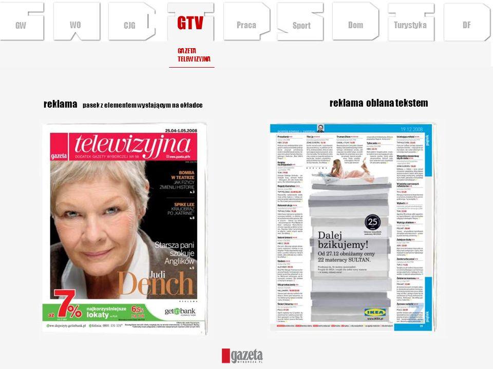 GTV reklama pasek z elementem wystającym na okładce