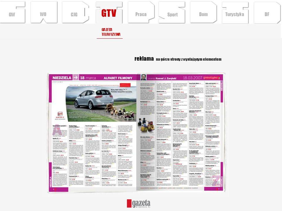 GTV reklama na górze strony z wystającym elementem GW WO CJG Praca