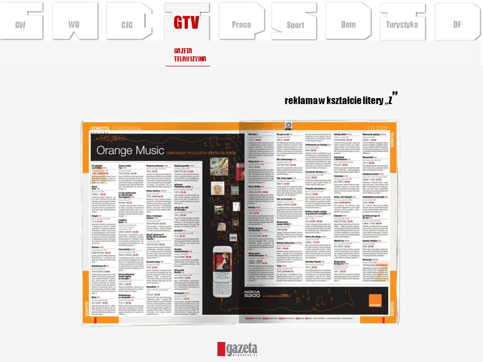 """GTV reklama w kształcie litery """"Z GW WO CJG Praca Sport Dom Turystyka"""