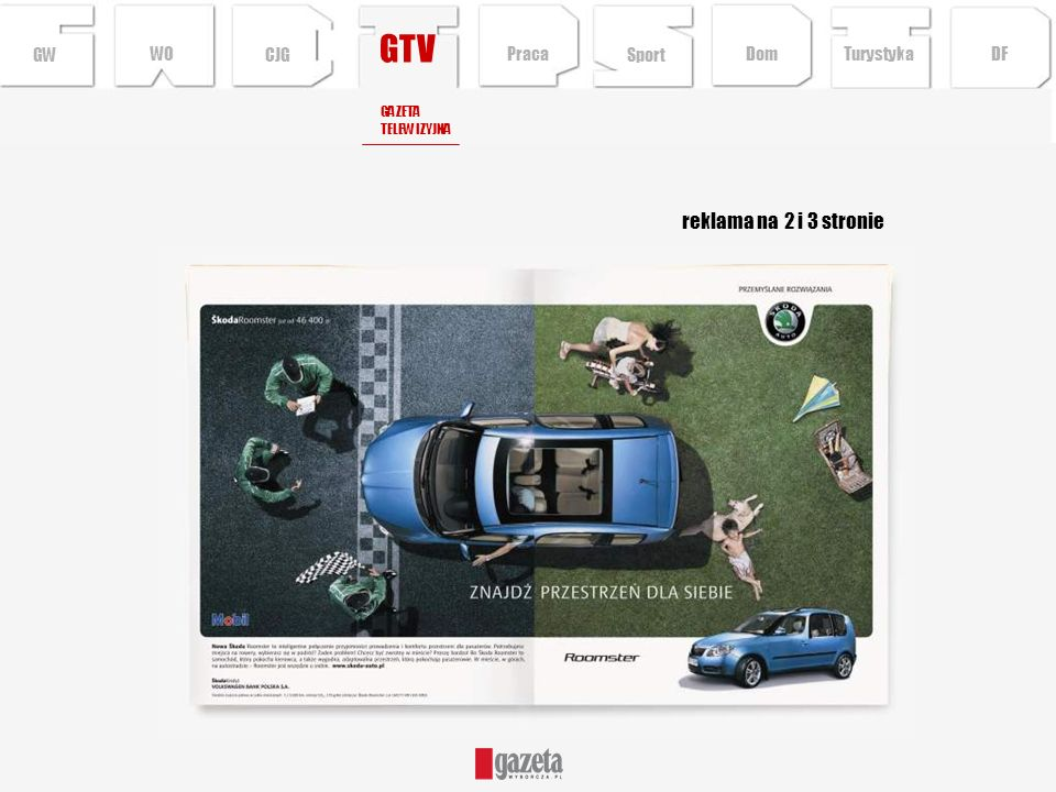 GTV reklama na 2 i 3 stronie GW WO CJG Praca Sport Dom Turystyka DF