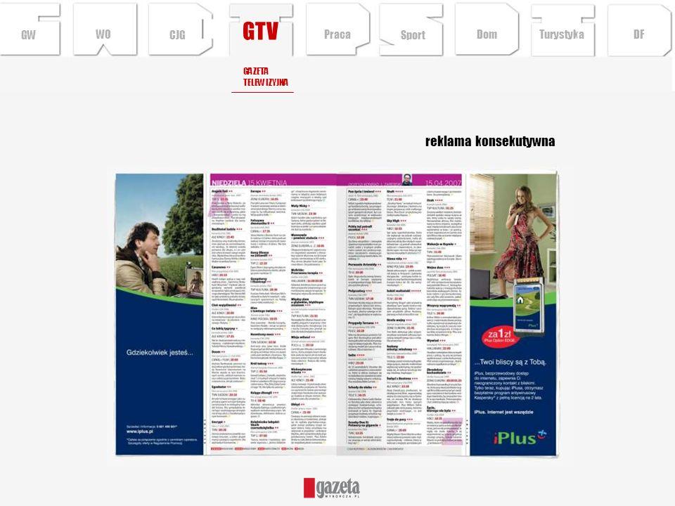 GTV reklama konsekutywna GW WO CJG Praca Sport Dom Turystyka DF GAZETA
