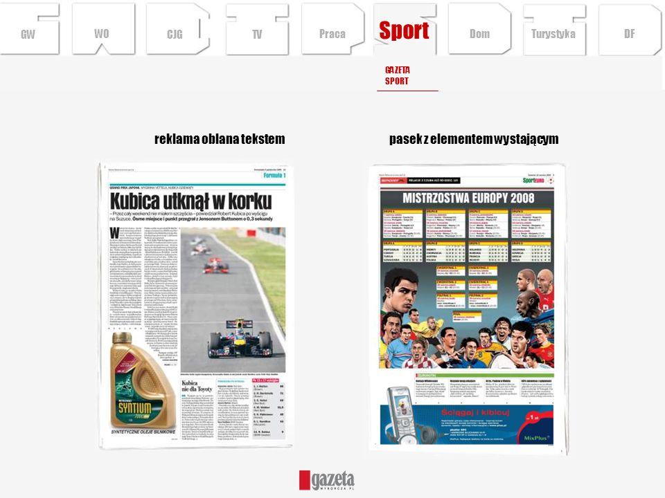 Sport reklama oblana tekstem pasek z elementem wystającym GW WO CJG TV