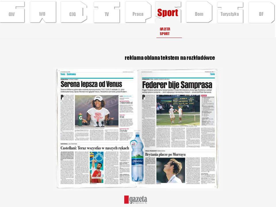 Sport reklama oblana tekstem na rozkładówce GW WO CJG TV Praca Dom