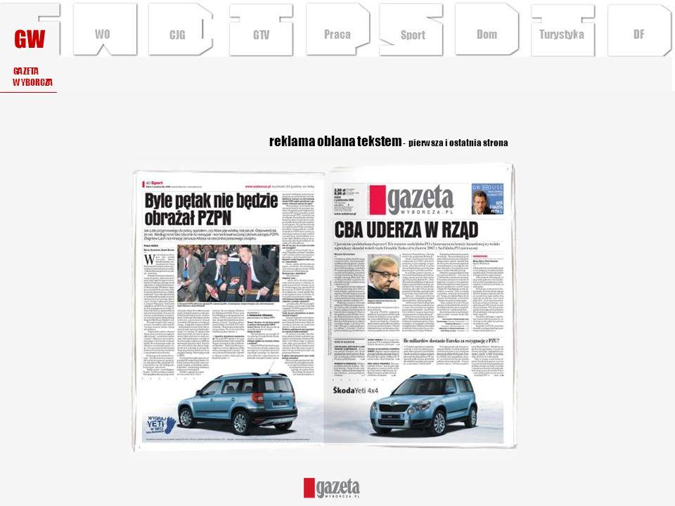 GW reklama oblana tekstem - pierwsza i ostatnia strona WO CJG GTV