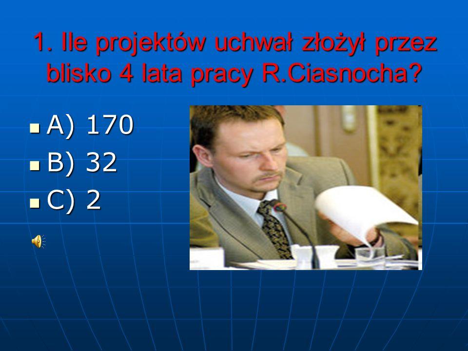 1. Ile projektów uchwał złożył przez blisko 4 lata pracy R.Ciasnocha
