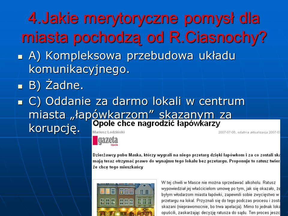 4.Jakie merytoryczne pomysł dla miasta pochodzą od R.Ciasnochy