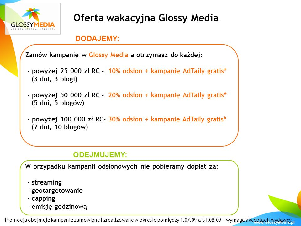Oferta wakacyjna Glossy Media