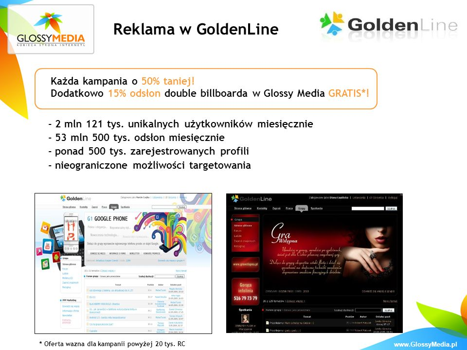 Reklama w GoldenLine Każda kampania o 50% taniej!