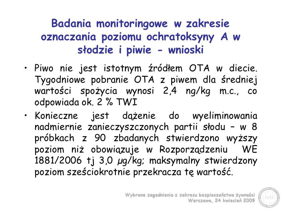 Badania monitoringowe w zakresie oznaczania poziomu ochratoksyny A w słodzie i piwie - wnioski