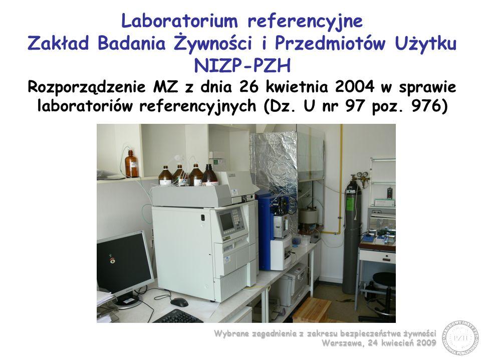 Laboratorium referencyjne Zakład Badania Żywności i Przedmiotów Użytku NIZP-PZH Rozporządzenie MZ z dnia 26 kwietnia 2004 w sprawie laboratoriów referencyjnych (Dz.