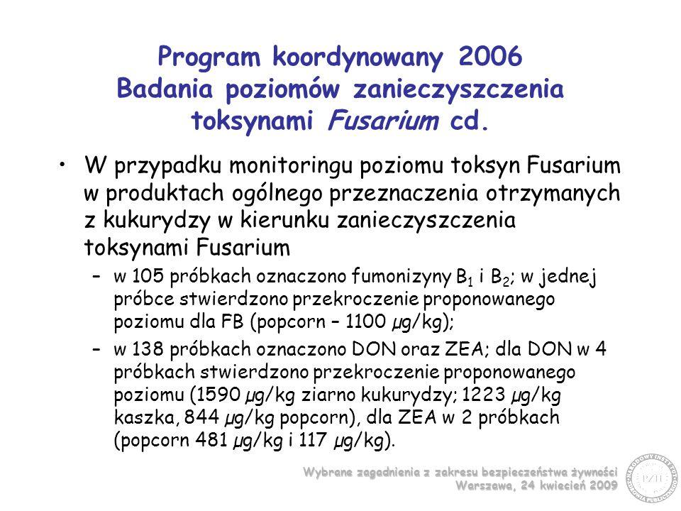 Program koordynowany 2006 Badania poziomów zanieczyszczenia toksynami Fusarium cd.