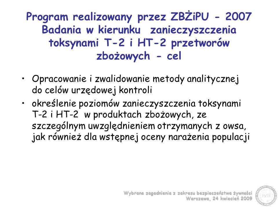Program realizowany przez ZBŻiPU - 2007 Badania w kierunku zanieczyszczenia toksynami T-2 i HT-2 przetworów zbożowych - cel