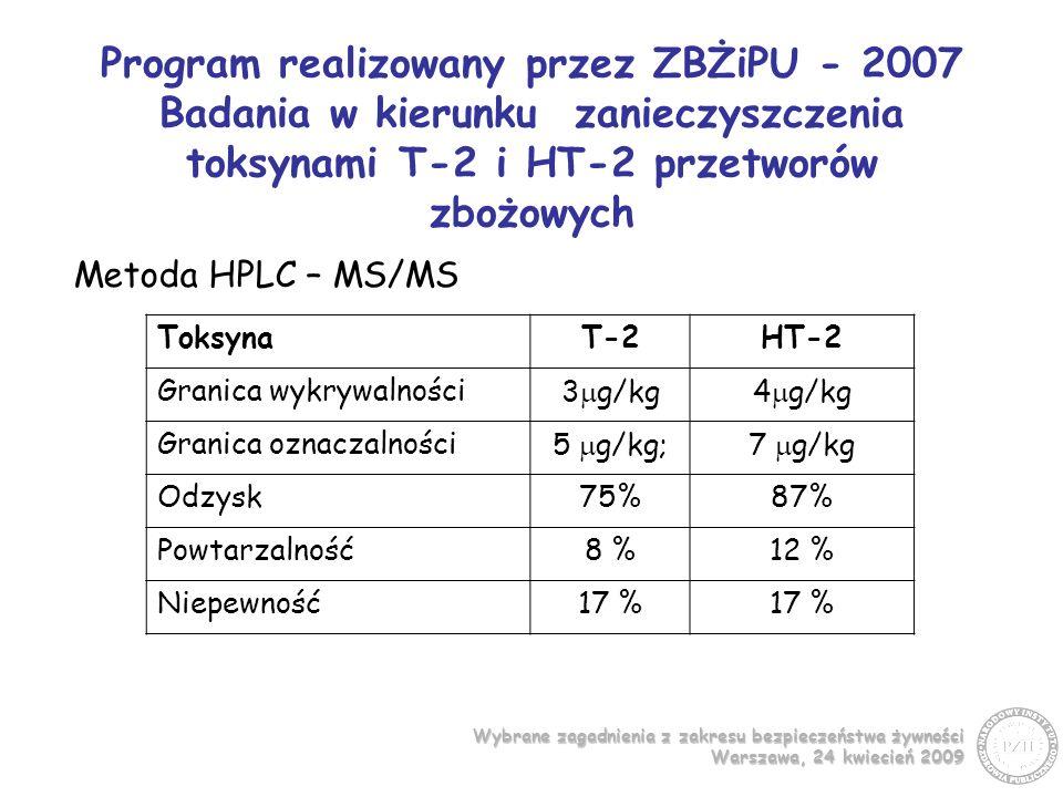 Program realizowany przez ZBŻiPU - 2007 Badania w kierunku zanieczyszczenia toksynami T-2 i HT-2 przetworów zbożowych