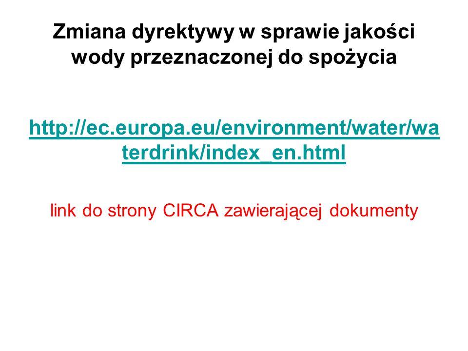 Zmiana dyrektywy w sprawie jakości wody przeznaczonej do spożycia