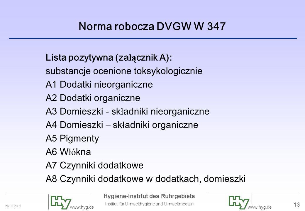 Norma robocza DVGW W 347 Lista pozytywna (załącznik A):