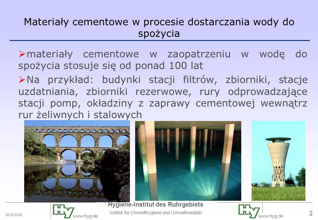 Materiały cementowe w procesie dostarczania wody do spożycia