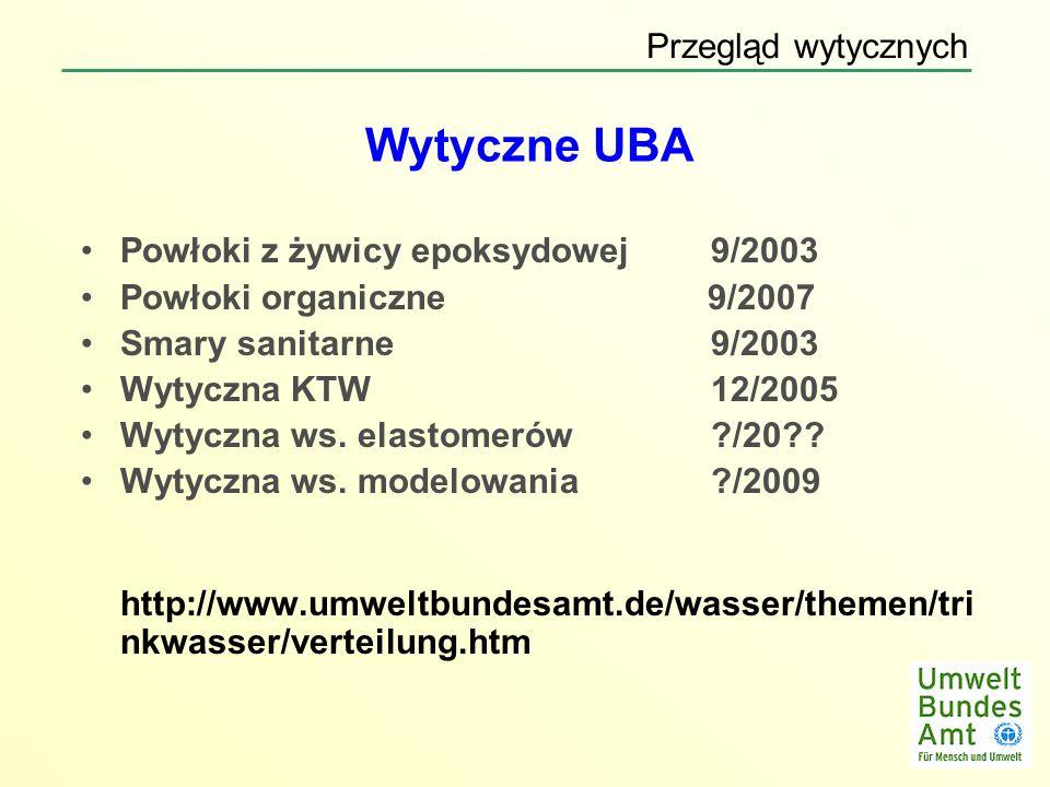 Wytyczne UBA Przegląd wytycznych Powłoki z żywicy epoksydowej 9/2003