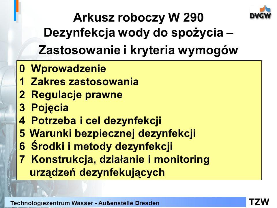 Arkusz roboczy W 290 Dezynfekcja wody do spożycia – Zastosowanie i kryteria wymogów