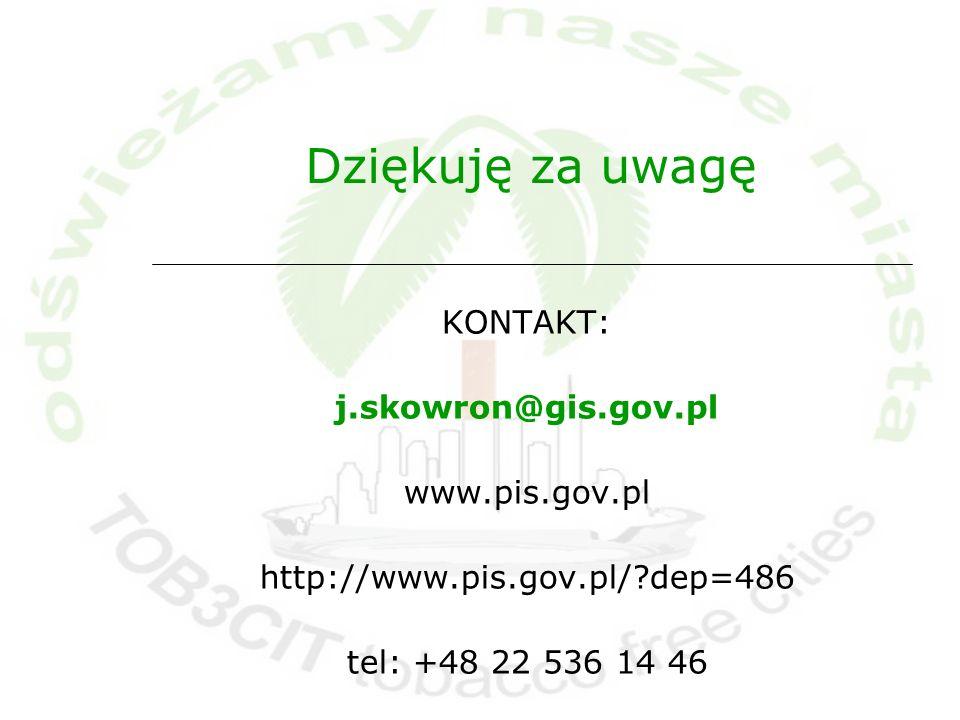 Dziękuję za uwagę KONTAKT: j.skowron@gis.gov.pl www.pis.gov.pl