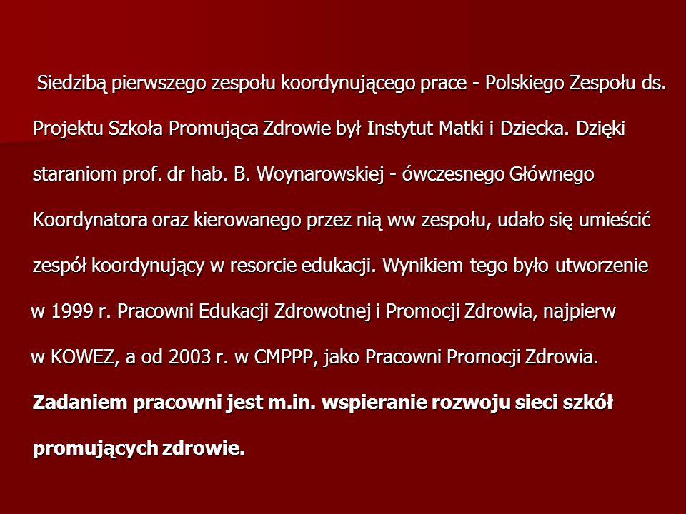Siedzibą pierwszego zespołu koordynującego prace - Polskiego Zespołu ds. Projektu Szkoła Promująca Zdrowie był Instytut Matki i Dziecka. Dzięki staraniom prof. dr hab. B. Woynarowskiej - ówczesnego Głównego Koordynatora oraz kierowanego przez nią ww zespołu, udało się umieścić zespół koordynujący w resorcie edukacji. Wynikiem tego było utworzenie