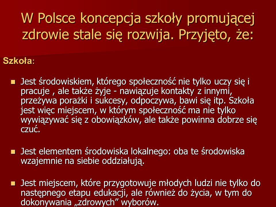 W Polsce koncepcja szkoły promującej zdrowie stale się rozwija