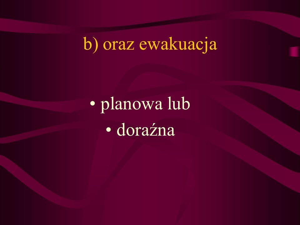 b) oraz ewakuacja planowa lub doraźna
