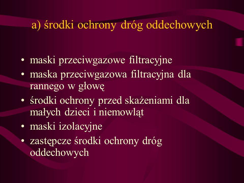 a) środki ochrony dróg oddechowych