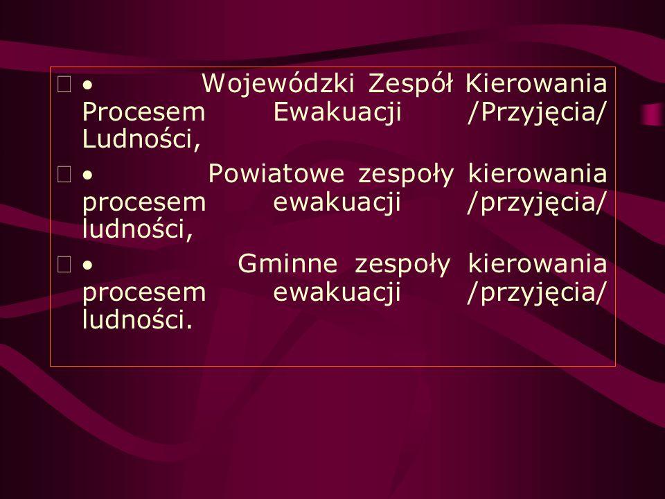 · Wojewódzki Zespół Kierowania Procesem Ewakuacji /Przyjęcia/ Ludności,