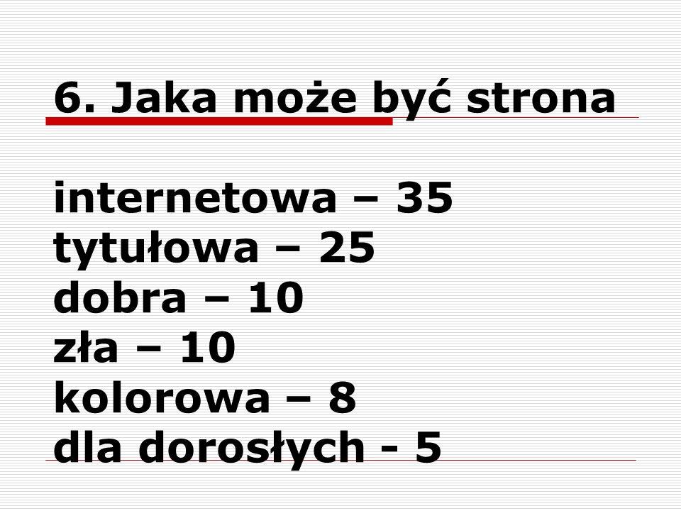 6.Jaka może być stronainternetowa – 35. tytułowa – 25.