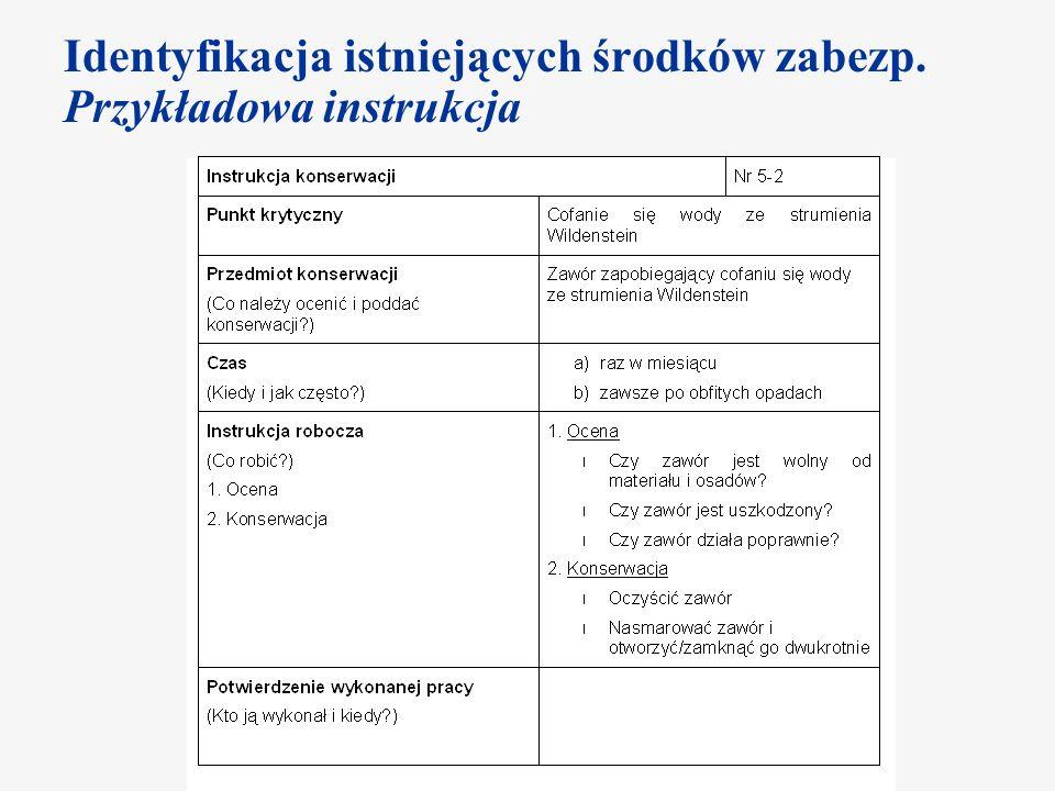Identyfikacja istniejących środków zabezp. Przykładowa instrukcja