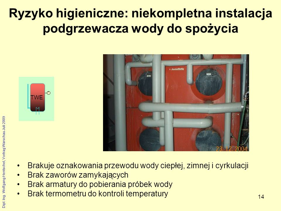 Ryzyko higieniczne: niekompletna instalacja podgrzewacza wody do spożycia
