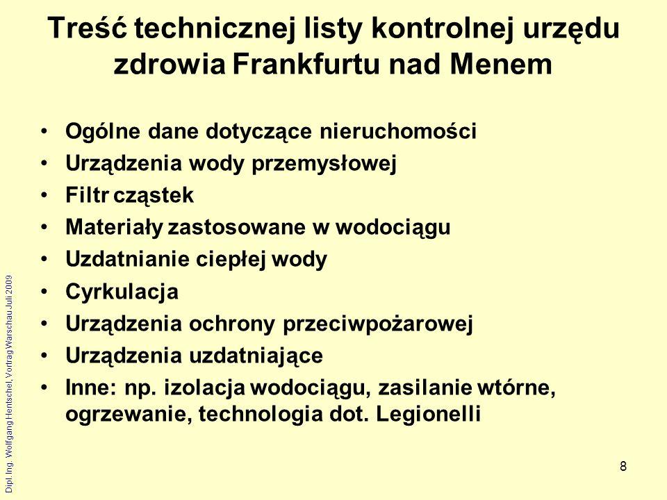 Treść technicznej listy kontrolnej urzędu zdrowia Frankfurtu nad Menem