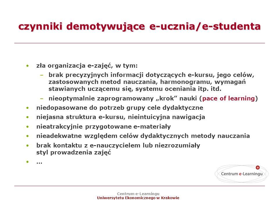 czynniki demotywujące e-ucznia/e-studenta