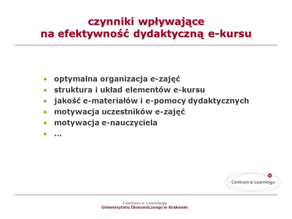 czynniki wpływające na efektywność dydaktyczną e-kursu