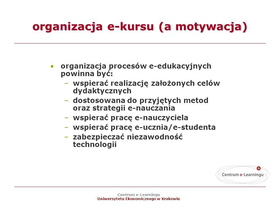 organizacja e-kursu (a motywacja)