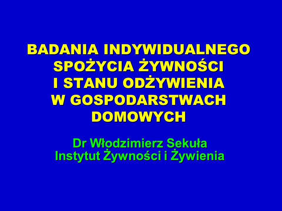 Dr Włodzimierz Sekuła Instytut Żywności i Żywienia