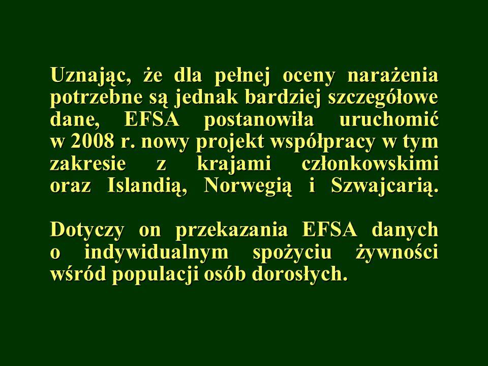 Uznając, że dla pełnej oceny narażenia potrzebne są jednak bardziej szczegółowe dane, EFSA postanowiła uruchomić w 2008 r.