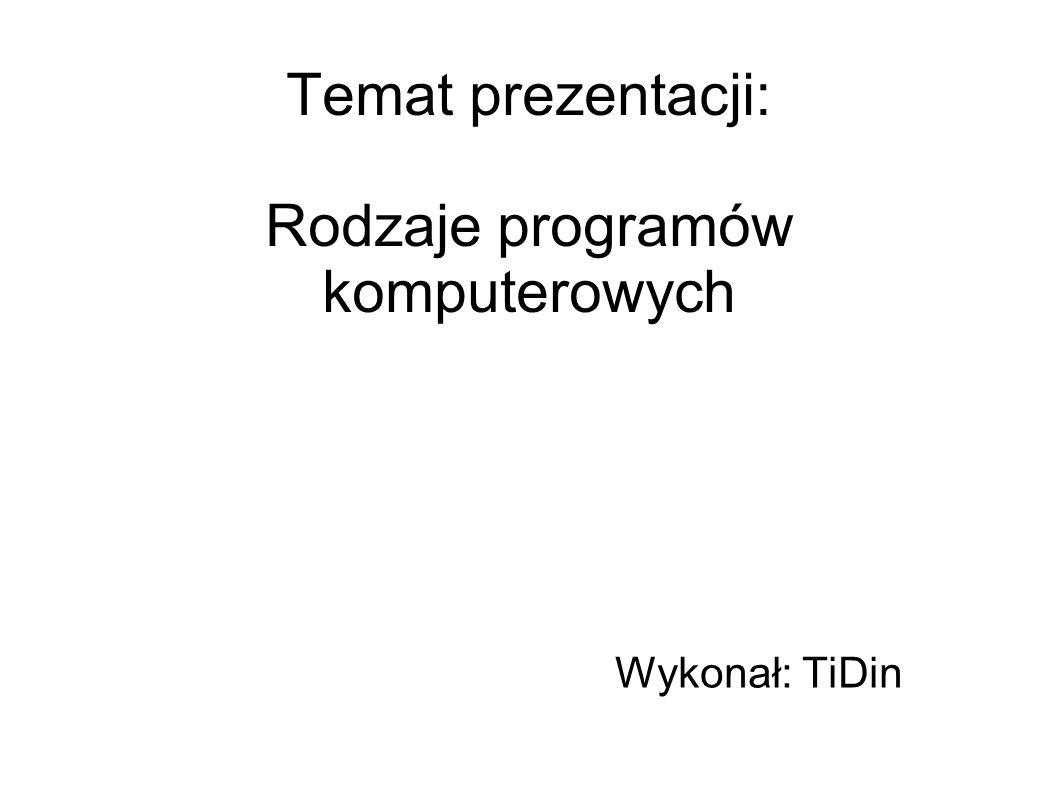 Temat prezentacji: Rodzaje programów komputerowych
