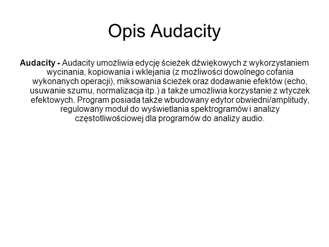 Opis Audacity