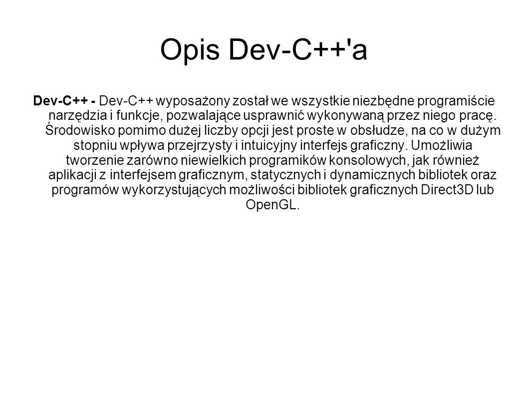 Opis Dev-C++ a