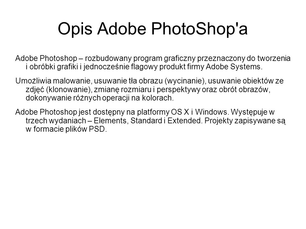 Opis Adobe PhotoShop a