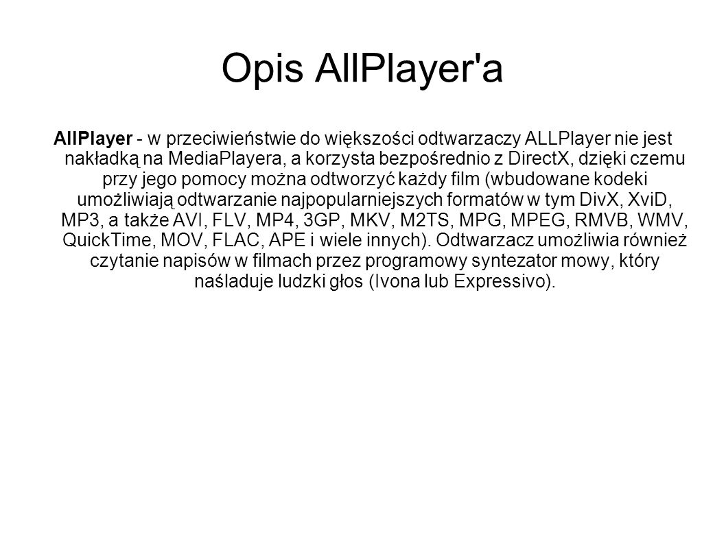 Opis AllPlayer a