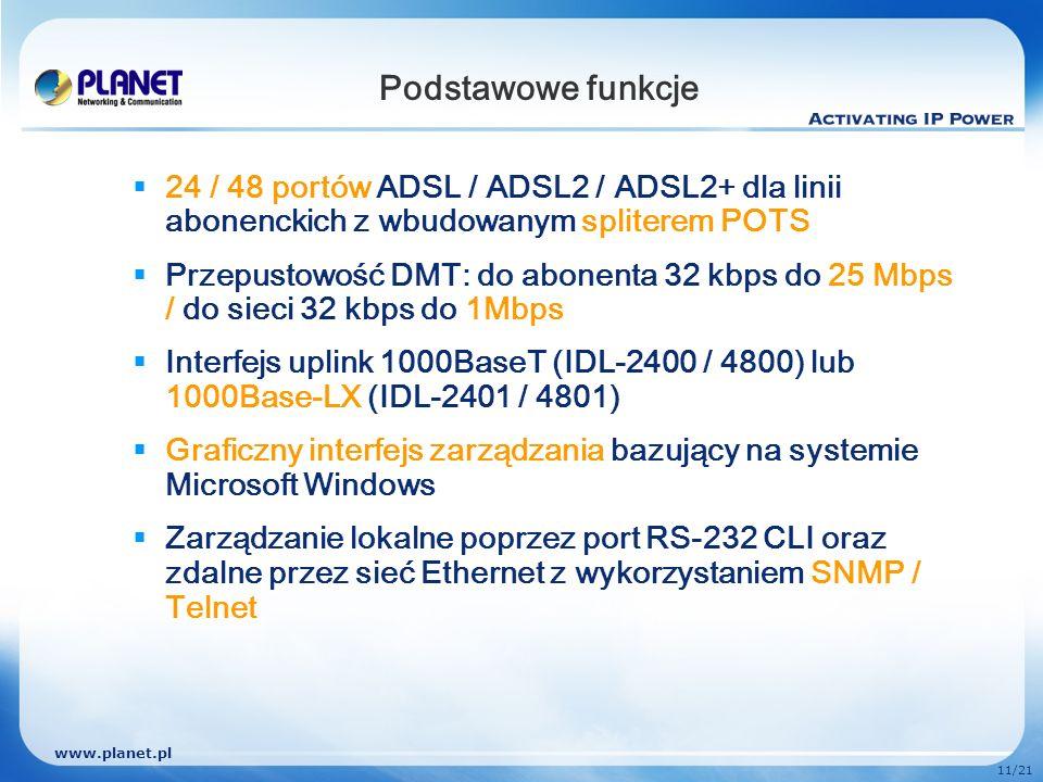 Podstawowe funkcje 24 / 48 portów ADSL / ADSL2 / ADSL2+ dla linii abonenckich z wbudowanym spliterem POTS.