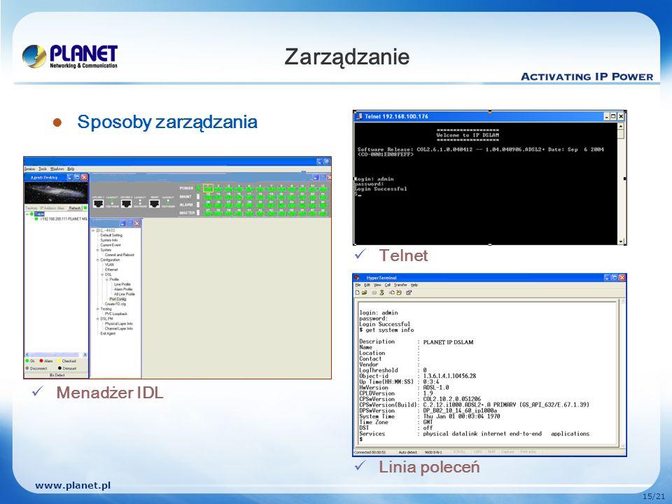 Zarządzanie Sposoby zarządzania Telnet Menadżer IDL Linia poleceń