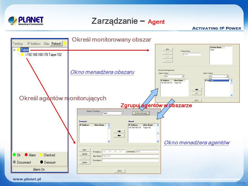 Zarządzanie – Agent Określ monitorowany obszar