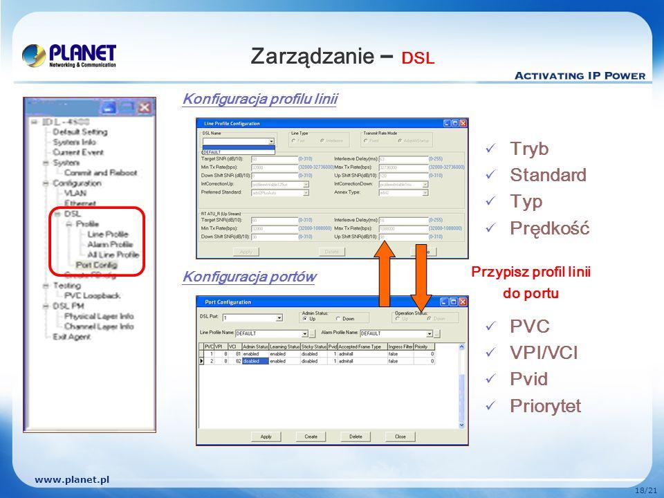 Zarządzanie – DSL Tryb Standard Typ Prędkość PVC VPI/VCI Pvid