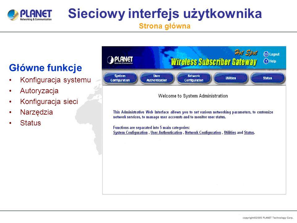 Sieciowy interfejs użytkownika Strona główna